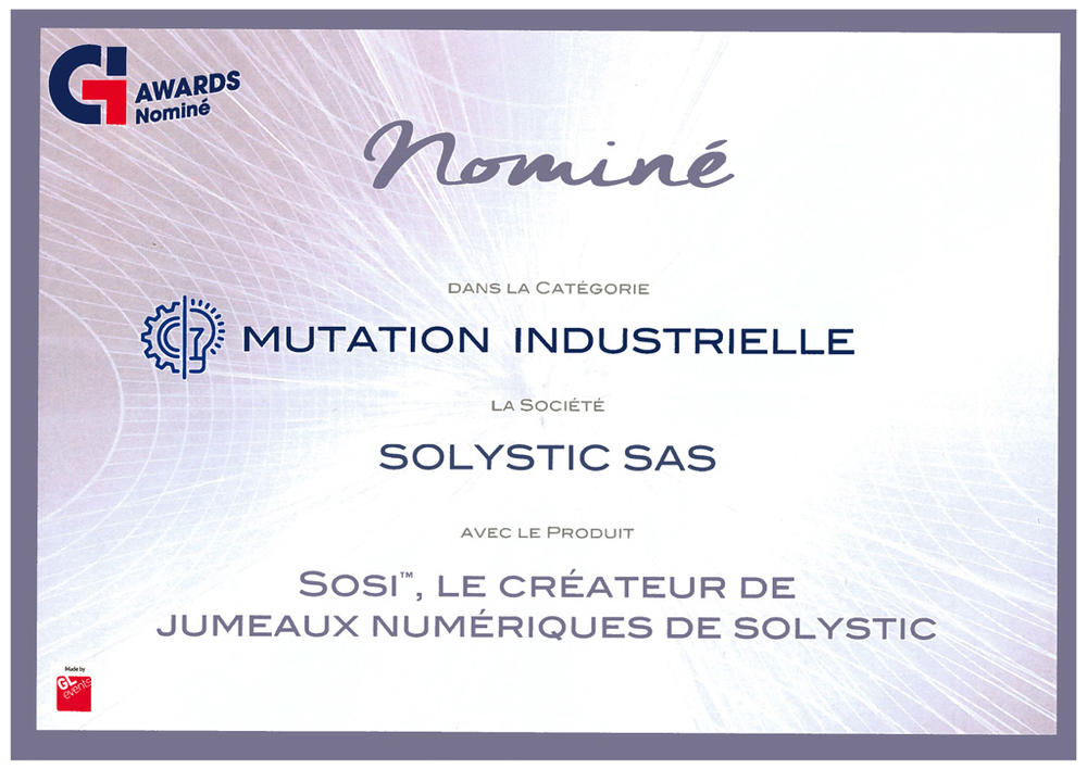 SOLYSTIC nominee by Global Industrie 2019