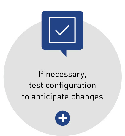 If necessary, test configuration to anticipate changes
