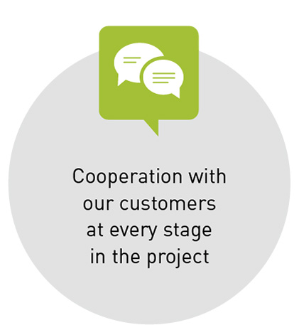 Cooperation with our customers at every stage in the project